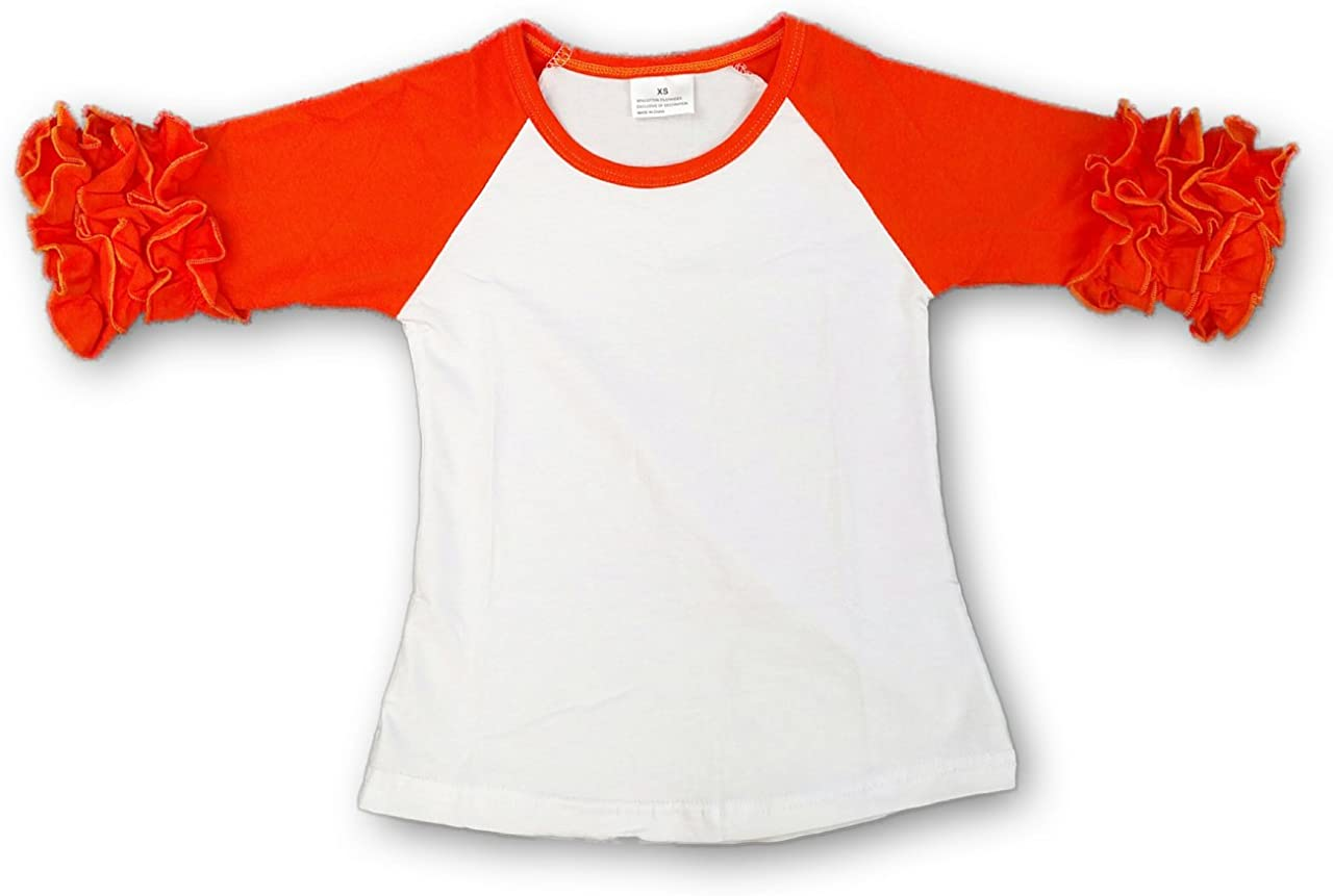 the Hair Bow COMPANY Girls Ruffle Raglan (Icing Raglan Shirts for Toddlers and Girls 18m-8y)