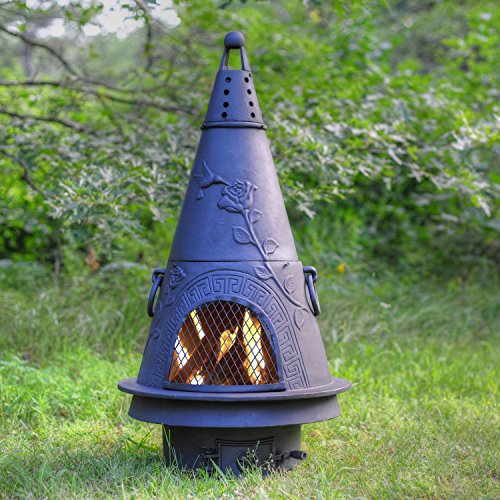 Outdoor Chimenea Fireplace - Garden in Charcoal Finish (Without Gas) by The Blue Rooster