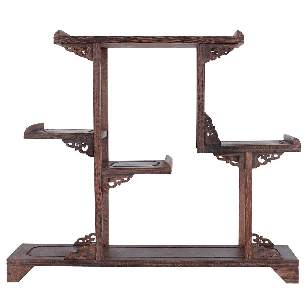 Aeloa Home Carving Crafts Rack Antique Display Rack Flower Pot Rack Desk Decoration