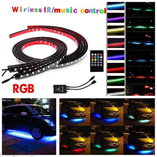 WISWIS 4Pcs Car LED Neon Undercar Glow light Underglow Atmosphere Decorative Bar Lights Kit Strip, Underbody System Waterproof Tube 7 Color & Wireless Remote Control -35''47''