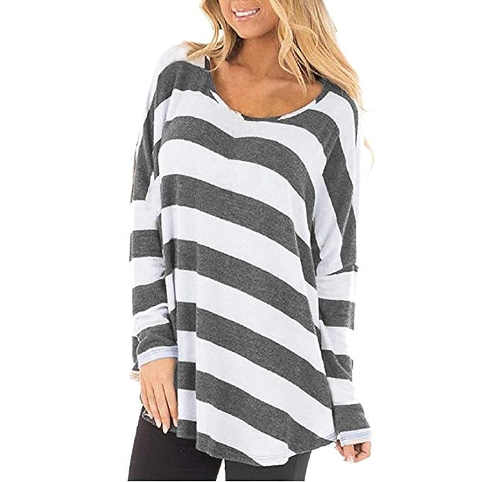 Bekleidung Longra❤ ❤ Longra Pulli Damen Pullover Longsleeve Langarmshirt  Streifen T-Shirt 21799391ee