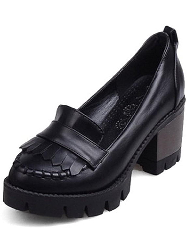 SYJO Women's Vintage Tassels Low Top Platform Mid Chunky Heels Slip On Oxfords Office Shoes