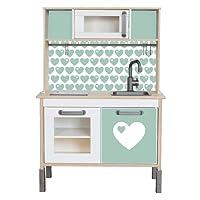 byGraziela Herz Klebefolie passend für deine IKEA Kinderküche DUKTIG (Farbe Mint) - Möbel nicht inklusive
