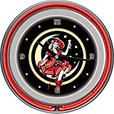 "Miller High Life ""Girl in the Moon"" Chrome Double Ring Neon Clock, 14"""