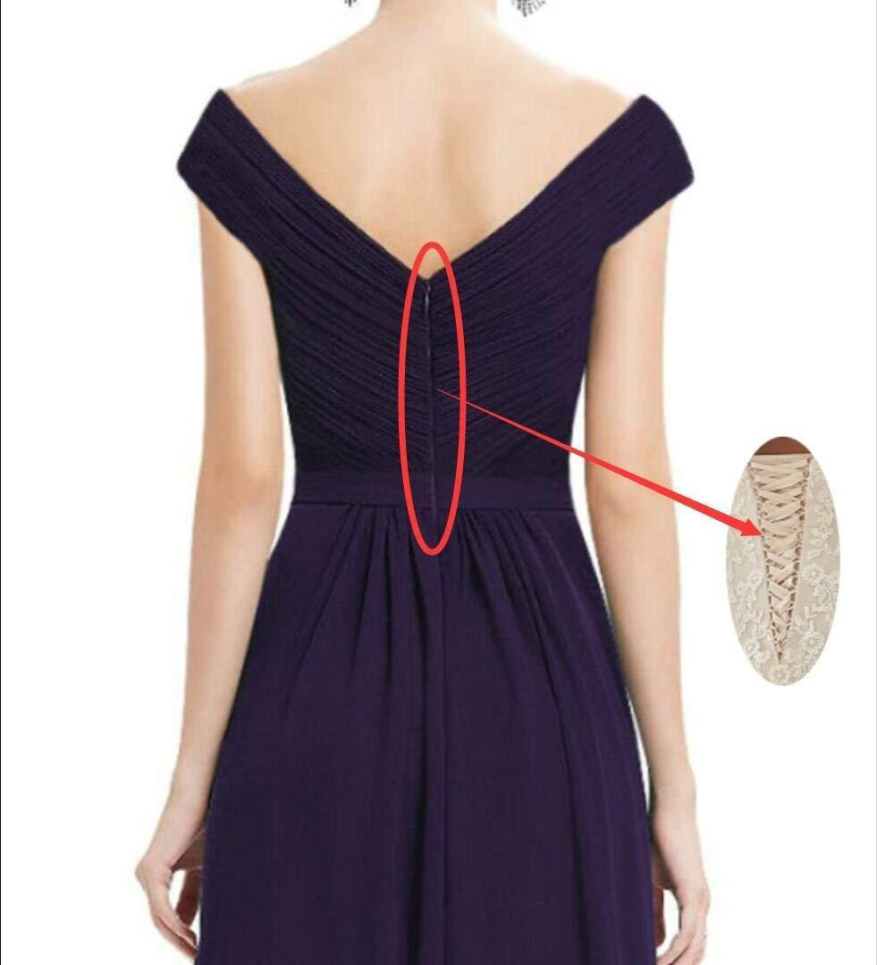 Cute V-Neck Bridesmaid Dresses Slit Long Chiffon Wedding Evening Gown by Lover Kiss (Image #4)