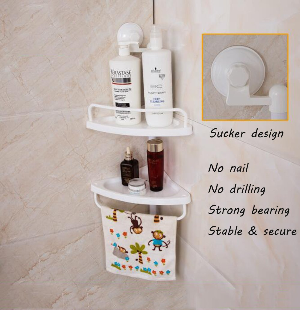 Shower Caddy Wall Mounted Bathroom Corner Shelf Plastic Suction Cup ...