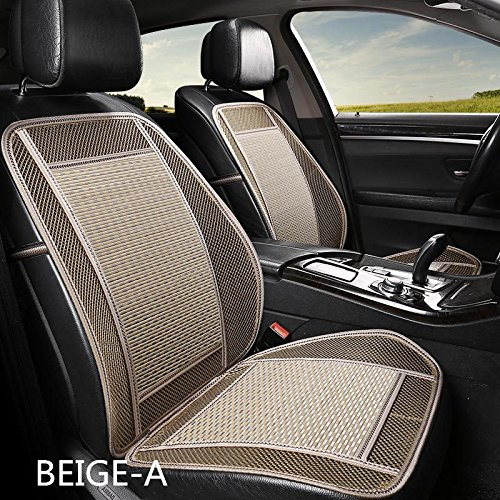 Car Seat Cover of Bamboo Silk and Mesh Car Cushion for Summer Auto Accessories Car Interior (Beige, Flat(Without Waist))