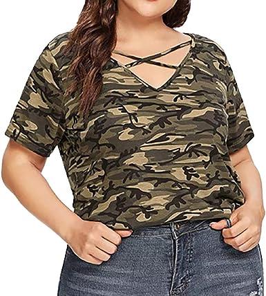 Qingsiy 2019 Moda Mujer Casual Escote en V Talla Grande Camuflaje Hueca Mangas Cortas, Camiseta de Mujer De Deportes Sexy Blusa Mujer Camiseta: Amazon.es: Ropa y accesorios