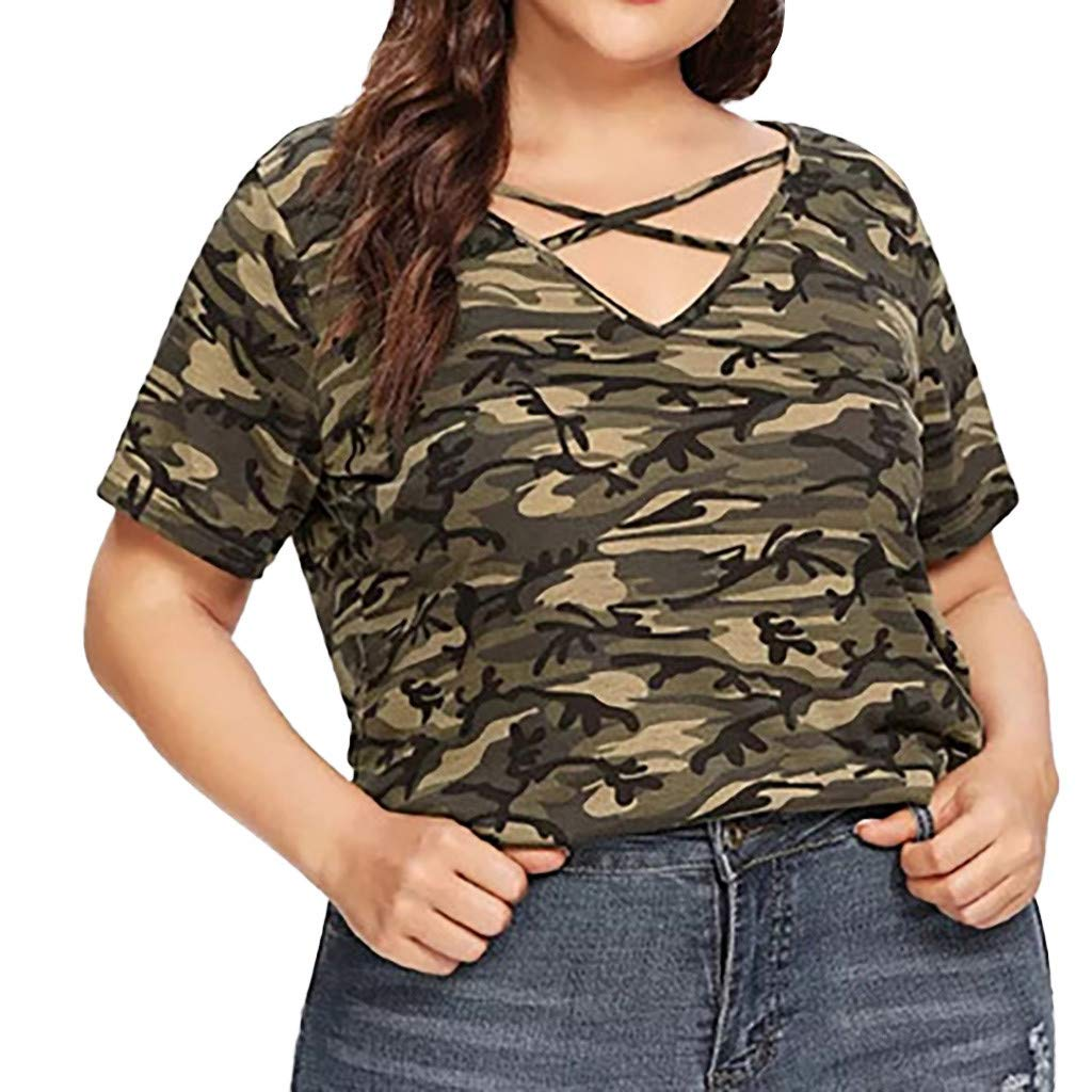 Willow S Women Fashion Casual V-Neck Plus Size Short Sleeve Camouflage Hollow Out Loose Tops T-Shirts Blouse