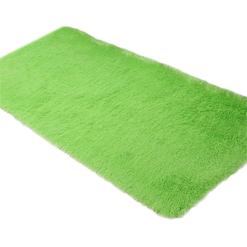 Cdet Modernas alfombras de seda sala de estar rectangular mesa de café sofá cama alfombras alfombras(Verde)