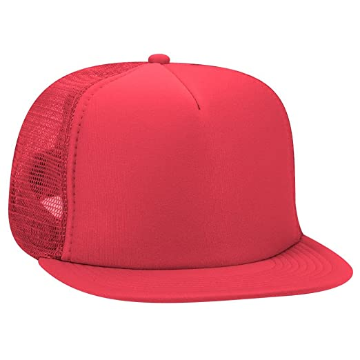 091fc93a8c7 OTTO SNAP Round Flat Visor High Crown Mesh Back 5 Panel Trucker Snapback -  Red