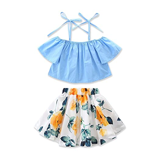 85630f86a Amberetech Toddler Girls Skirt Outfit Off-The Shoulder Top Floral Skirt Two- Piece Clothing