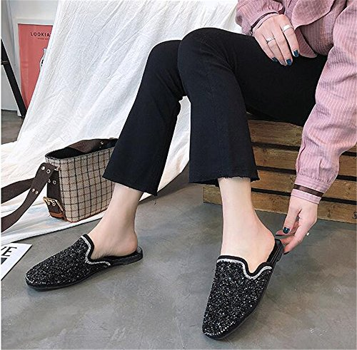 Black Mules Backless 1 Ruffle Toe Women Pointed Trimmed Slip for Sandals Women's Slippers Slides COLOV On Flats HdxZqZW