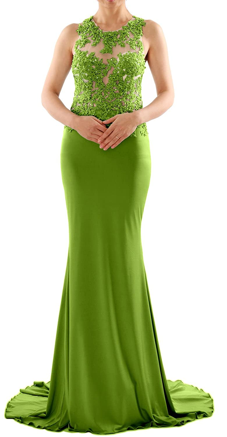 MACloth Women Mermaid Long Lace Jersey Long Prom Dress Formal Party Evening Gown