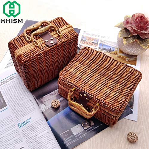 SeedWorld Storage Baskets - Handmade Woven Storage Basket Bamboo Rattan Travel Suitcase Wicker Baskets Cosmetic Organizer Picnic Food Storage Boxes 1 PCs