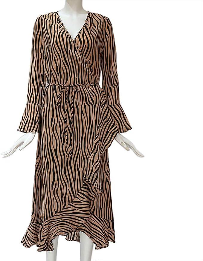 TIFIY Vestido de Gasa Manga Larga Cuello V Patrón de Tigre Dobladillo Irregular Cinturón Delgada Vestido Casual: Amazon.es: Ropa y accesorios