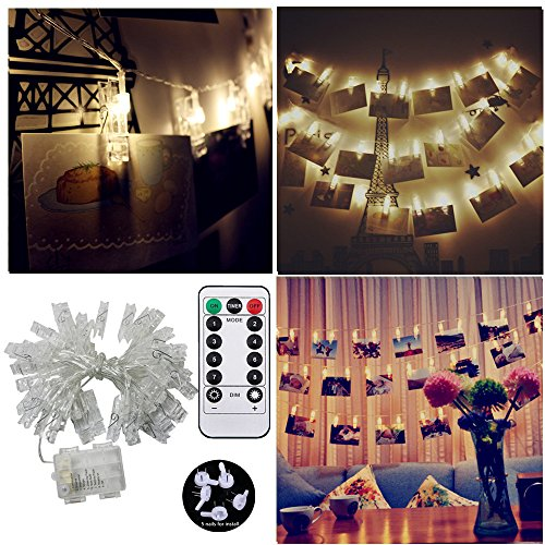 40 LED Photo Hanging Clips String Light, JulyFire 15 Ft Remote Control Battery Operated Dimmable Photo Display Starry Lamp with 8 Modes, for Hang Pictures Cards Notes, with 5 Wall Nails, Warm White