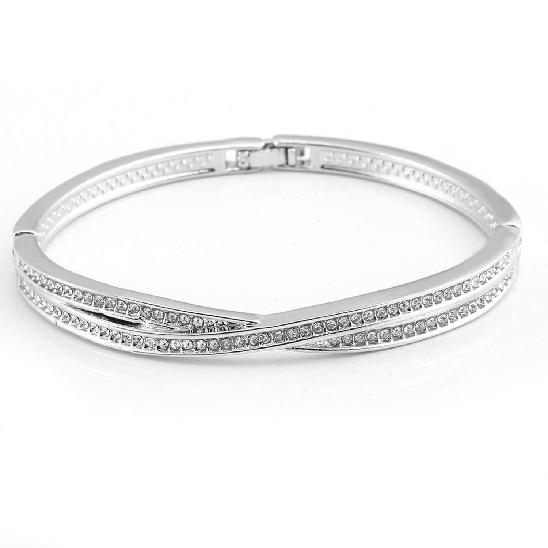 SHILINWEI Fashion Jewelry Charm Bangle Women Lady Crystal Cuff Bangle Charm Rhinestone Bracelet Ladies Gift