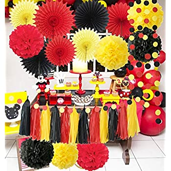 Mickey Mouse Party Decorations Yellow Black Red Tissue Paper Fans Mickey Mouse Birthday Decorations/Tissue Paper Pom Pom Mickey Garland Baby Shower ...