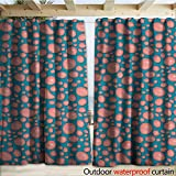 warmfamily Pale Pink Outdoor Curtain Panel for Patio Drops and Round Splash of Bubble Gum on Blue Background in Cartoon Style W120 x L108 Petrol Blue Coral