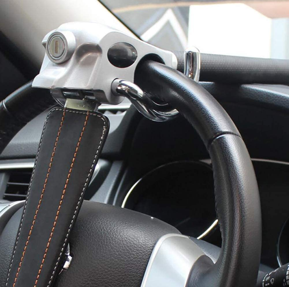 Car Vihicle Top Mount Steering Wheel Anti Theft Security Lock Safe Devices Grey