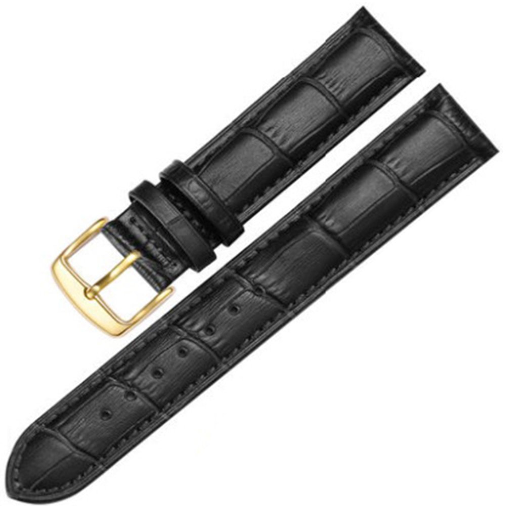 12-17mm New Genuine Leather Gold Buckle Wrist Watch Bands Strap Replacement for Ladies Womens (16mm, Black & Black Line)