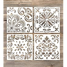 GSS Designs Pack of 4 Stencils Set (6x6 Inch) Laser Cut Painting Stencil Floor Wall Tile Fabric Wood Stencils -Reusable Template (SL-006)