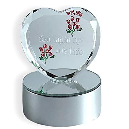 eac723e2aa5b Amazon.com  BANBERRY DESIGNS You Light up My Life LED Lighted Heart Gift -  Color Changing Light Base with Glass Heart Decoration - Gifts for Her  Home    ...