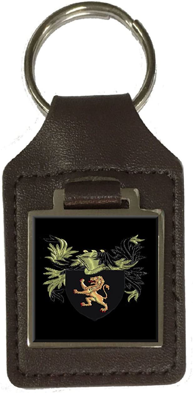 Williams Family Crest Surname Coat Of Arms Brown Leather Keyring Engraved