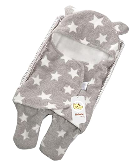 mainaisi Swaddle Wrap Manta para bebés saco de dormir Cartoon suave de doble capa Pink Stars