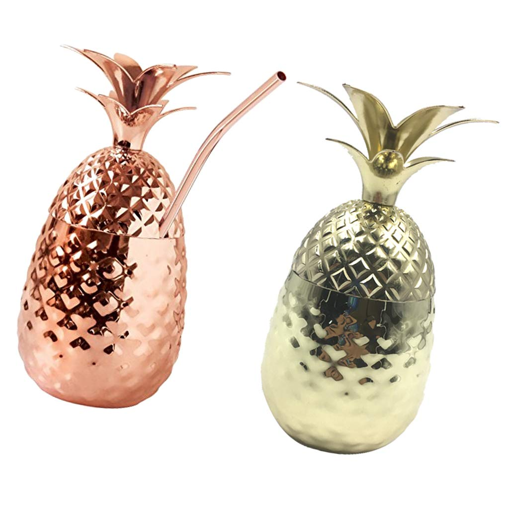 LOVIVER 2Pack Pineapple Cup Stainless Steel Pineapple Cup Wine Cocktail Cup Mug Drinking Bar Tool