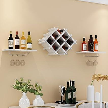 WURE Bastidores de Vino de Madera sólida Pared Minimalista Moderna Bodega Decorada Montaje de los estantes