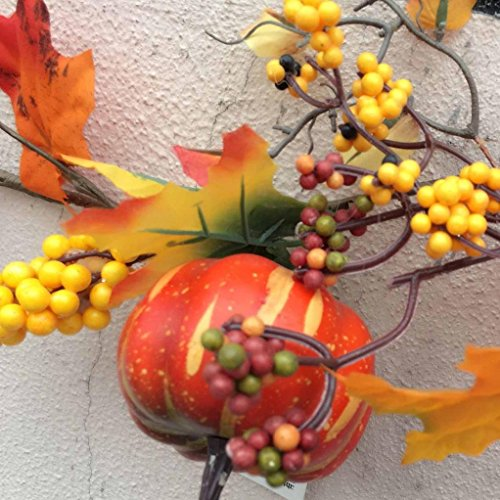 Promisen 1.8M LED Lighted Fall Garland,Pumpkin Maple Leaves Garland with Pumpkins, Sunflowers, Maple Leaves, Pine Cones, and Berries Decor For Thanksgiving Day (Mulitcolor) by Promisen (Image #1)