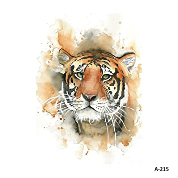 7eaa5c4dd Amazon.com : WYUEN 5 Sheets Watercolor Tiger Temporary Tattoo Sticker Fake  Waterproof Tattoo For Women Men Body Art 9.8X6cm (FA-215) : Beauty