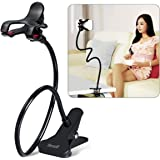 Breett Cellphone Holder, Phone Holder Flexible Stand with Gooseneck Clamp Long Arms Mount for iPhone 6/6 plus/7/8, GPS Devices, Fit On Desktop Bed Mobile Stand (Black)