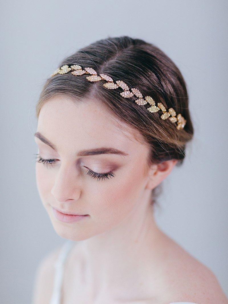SWEETV Rhinestone Leaf Bridal Belt Wedding Belt Crystal Headband Bridesmaid Sash for Dress & Gown, Gold by SWEETV (Image #4)