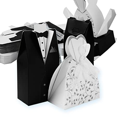 Segnaposto Matrimonio 0 50 Centesimi.Qumao 50 Sposo 50 Sposa Scatoline Portaconfetti Scatole Carta