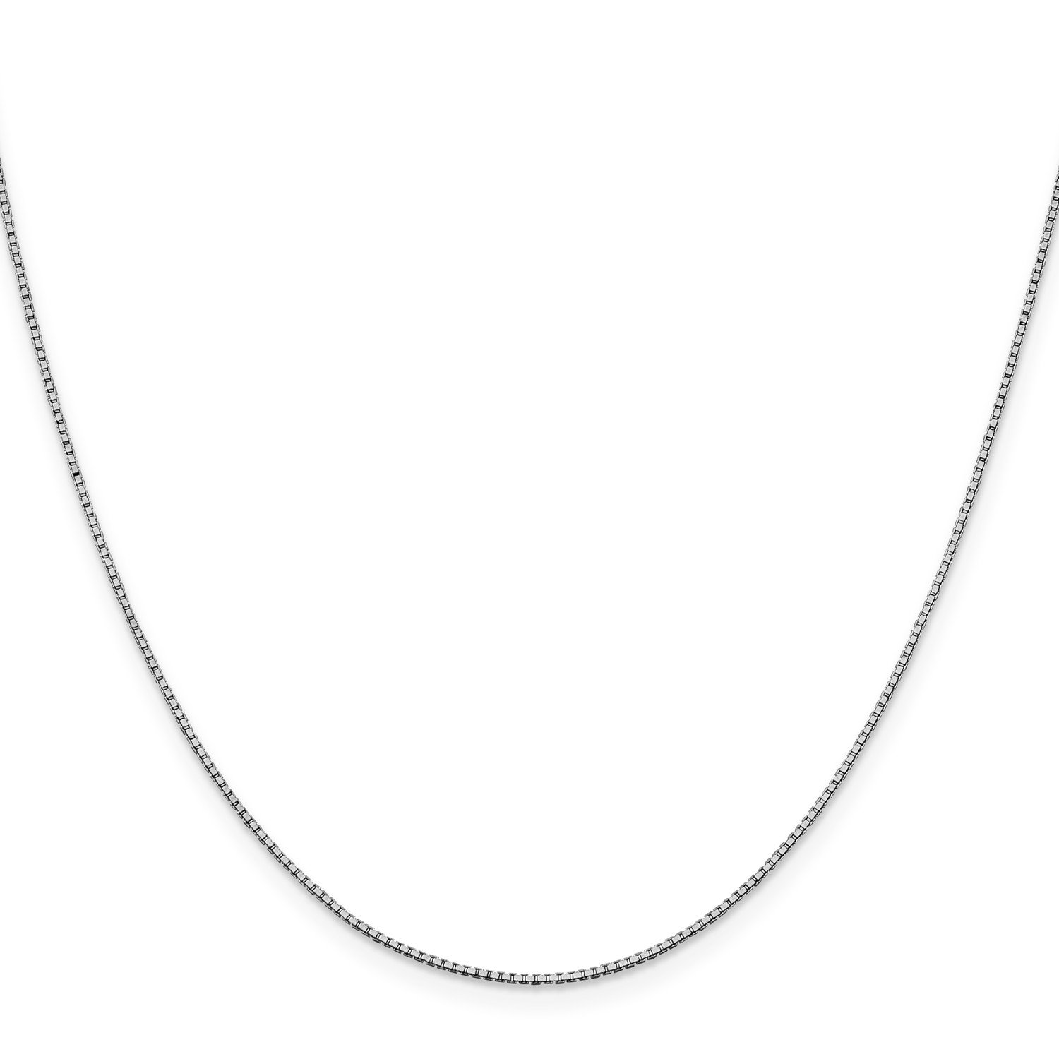Roy Rose Jewelry 10K White Gold 1mm Box Chain Necklace ~ Length 20'' inches