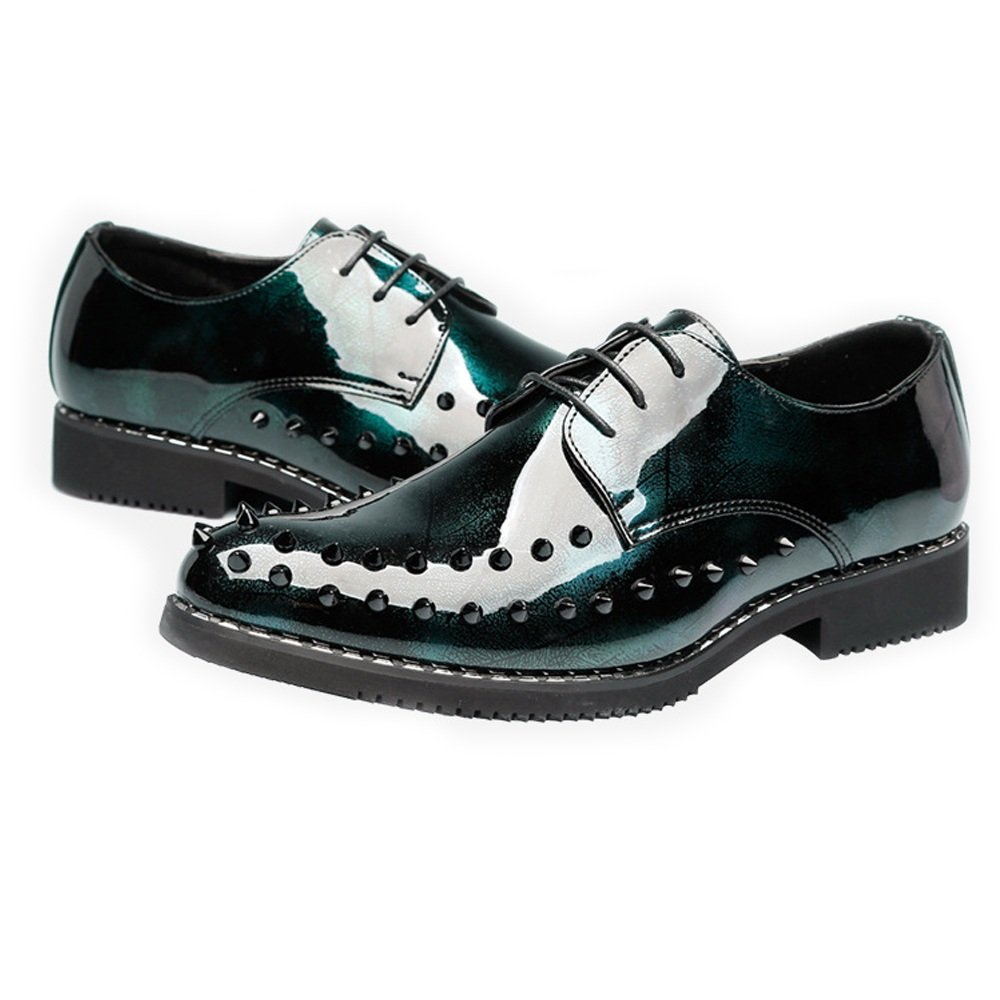 MXL Mens Punk Style Shoes Smooth PU Leather Prom Loafer Lace Up Breathable Lined Oxfords with Rivets Dress Shoes