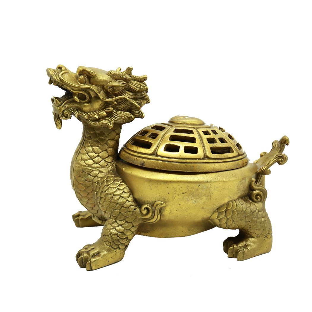FENGSHUI Chinese Handmade Gossip Dragon Turtle Ashtray Decoration Gift Brass Finish Collectible Figurines Removable Cover