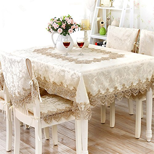 TaiXiuHome Lace Brown Flowers Emboridery Ribbon Crochet Square Dinner Table Cover Extra Long Tablecloth Rectangular24