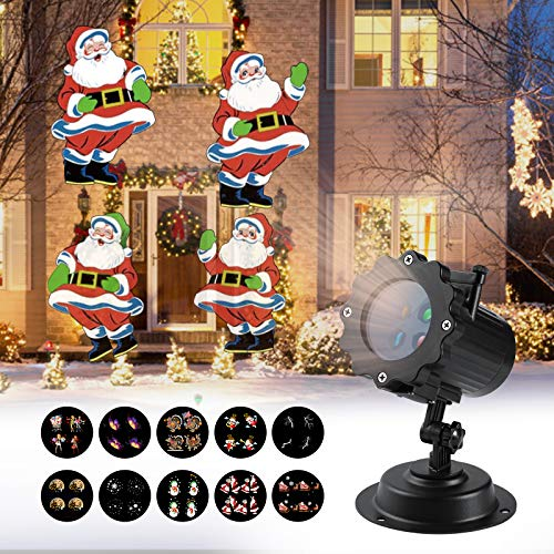 Christmas Projector Lights, LOPOO 12 Patterns LED Projector Rotating Lamp with Remote Control Timer Waterproof Dynamic Outdoor Lights Spotlights Decoration for Xmas,Birthday, Valentine's Day, Wedding