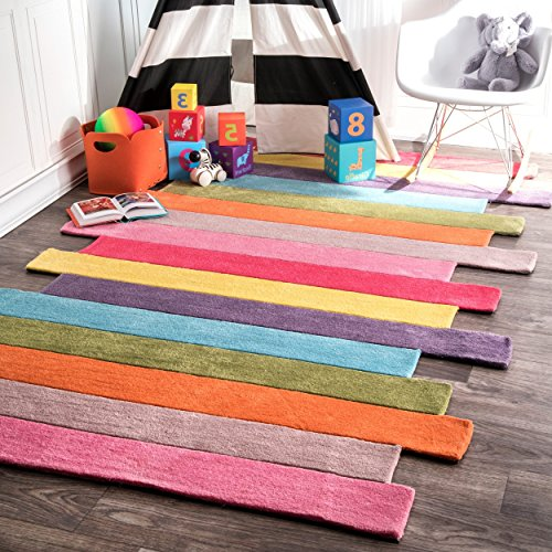 3' x 5' Colorful Handmade Geometric Color Block Stripes Area Rug, Featuring Whimsical Geo Horizontal Striped Patterned, Vibrant Hue Kids Playroom Living Room Carpet, Pastel Modern Style, Multicolor