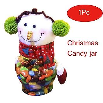 yookoon Navidad Candy Jar Elk Papá Noel Muñeco de nieve pequeños regalos recipiente botella Jar decoración