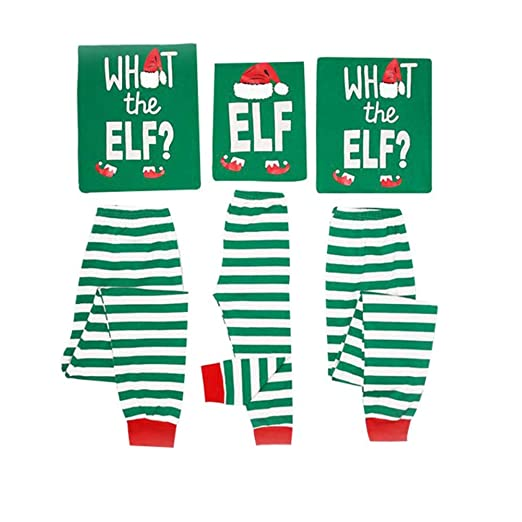 Amazon.com  Family Christmas Pajamas Set What The Elf - Long Sleeve Tops  Striped Pajamas Pants  Clothing d5f02b1a5