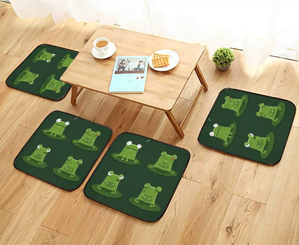 Printsonne Universal Chair Cushions Funny Muzzy Frog Lily Pad in Pd Hunting Tasty Fly Expressis Carto Animal Personalized Durable W15.5 x L15.5/4PCS Set