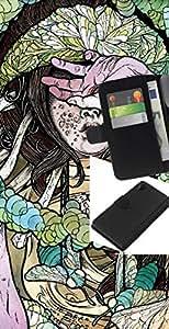 KLONGSHOP // Tirón de la caja Cartera de cuero con ranuras para tarjetas - Hardcore Chica Insecto Ilustración - Sony Xperia Z2 D6502 //
