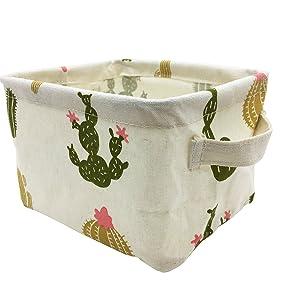 Mziart Cute Small Storage Basket with Handle, Foldable Cotton Fabric Storage Organizer Box for Nursery Kids Babies Room Shelves & Desks (Multi-Colored Cactus)