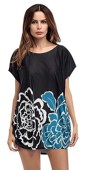 Blusas Negras Vestir Camisetas Mujer Tallas Grandes Largas Camisas Estampadas Verano Impreso Floral Tops Manga Corta Tunicas Fiesta Moda Largo Camiseras ...