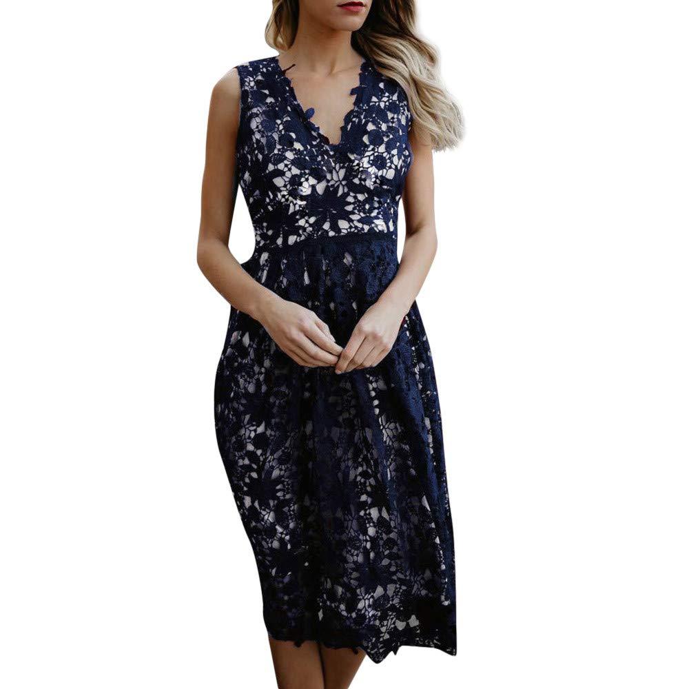 Zainafacai Women Vintage V-Neck Longline Party Evening Lace Stitching Dress (Navy, XL)
